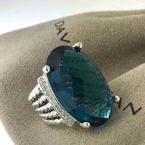David Yurman Silver 16x26mm Oval Ring Blue Topaz 7
